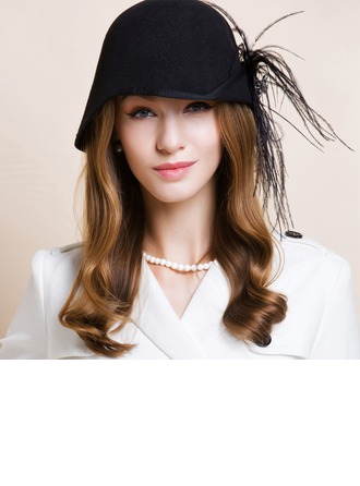 Ladies' Gorgeous Autumn/Winter Wool With Feather Bowler/Cloche Hat