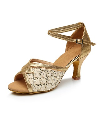 Women's Leatherette Lace Heels Sandals Latin Jazz Ballroom Party Tango With Ankle Strap Dance Shoes